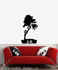 "WALL - Zen Garden Bonsai Tree - Wall Vinyl Decal (22""w x 34""h) (BLACK)"