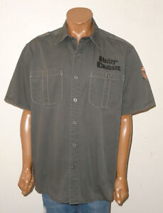 HARLEY DAVIDSON Motorcycle Shirt GRAY Button Up EMBROIDERED Cotton HEAVY Mens XL
