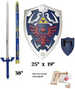 Legend of Zelda Link's Master sword and shield Gift Set Combo Steel Cosplay elf