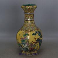 "13"" Qianlong mark China antique Porcelain famille rose Flower and bird Vase"
