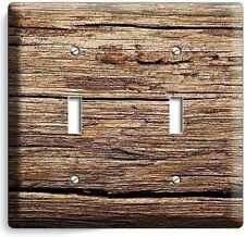 WORN OUT OLD RUSTIC WOOD DOUBLE LIGHT SWITCH WALL PLATE KITCHEN LOG CABIN DECO