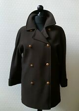 LOVELY LADIES BROWN 100% WOOL DOUBLE BREASTED COAT JACKET BY M&S SIZE 10