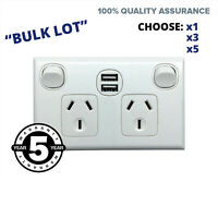 USB Fast Double Power Point Double Pole Twin Quick Charge  GPO Socket Outlet