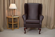 High Wingback Fireside Chair Chestnut Faux Leather Seat Easy Armchair Resin Leg