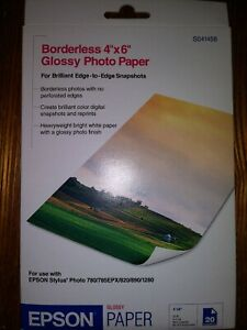 Epson Glossy Photo Paper Borderless 20 Sheets 4 x 6 Inches S041458