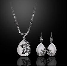 Vintage White Opal Simulation Jewellery Set Drop Tears Earrings & Necklace S350