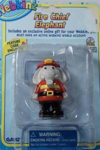 Webkinz Set of 3 'Fire Chief Elephant Figurine+Necklace+Stickers' All NEW!