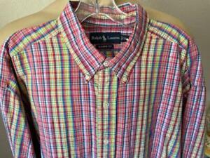 RALPH LAUREN Men's Multicolored Checked Long Sleeve Dress Shirt Size 2XL