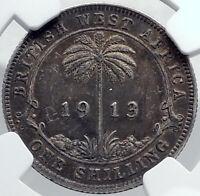 1913 British WEST AFRICA UK King George V Silver Shilling Coin NGC i81972