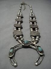 Sterling Silver Squash Blossom Necklace Quality! Vintage Navajo Bisbee Turquoise