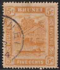 BRUNEI 1924 5c ORANGE USED, TONING BACK. CAT RM 6.