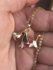 Gold plated necklace pendant small dog 3 D  fashion  jewellery kitsch