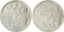 BELGIQUE  ,  500  FRANCS  ARGENT  1830 - 1980  ,  SUPERBE