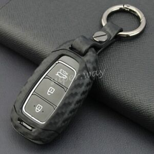 For Hyundai Accent/Santa Fe/Veloster/i30 Carbon Fiber Smart Key Chain Case Cover