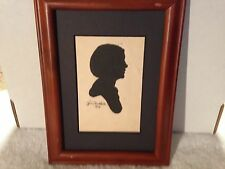 Beautiful Folk Art Vintage Paper Silhouette Signed Alma Barkshadt 1938