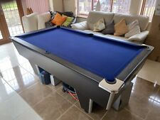 6ft Pool Table, black with blue cloth, used.