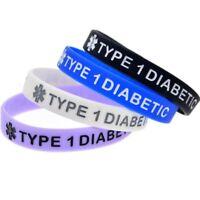 TYPE 1 DIABETIC Silicone Rubber Medical Alert Emergency ID Wristband Bracelet