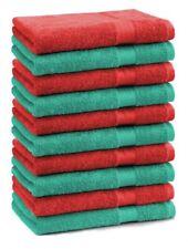 Lot de 10 serviettes débarbouillettes Premium: vert émeraude & bleu foncé