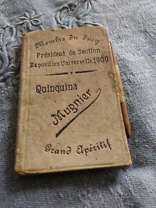 Exposition Universelle Paris 1900. Carnet de notes ardoises Quinquina publicité