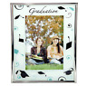 Graduation glass photo frame with black and blue gradution decals, holds 4x6 ...