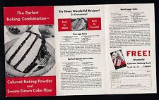 1937 Calumet Baking Powder & Swans Down Cake Flour small recipe flyer w/ ads