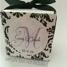 120 Personalized Wedding Favor Labels Stickers Monogram New! White GLOSSY!
