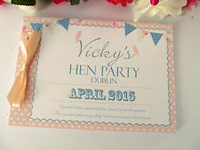 Personalised Guest Book Memory Hen Night Wedding Birthday Bunting Shabby Chic