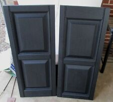 "BLACK VINYL RAISED PANEL EXTERIOR SHUTTERS 34-3/4"" TALL X 14.5"" WIDE"