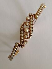 Superb Antique Victorian 15ct Gold Natural Seed Pearl Set Hinged Bangle