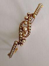 Excelente Antiguo Oro 15ct victoriano Conjunto de perla semilla natural Brazalete con bisagras