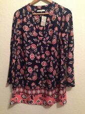 BNWT George Tunic Long Top / Dress Navy With Floral Pattern Size 12 <BC186