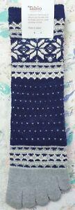 Tabio Japan Womens Socks Snowflake Doted MidCalf Toe Navy Grey UK 4-6 EU 37-39.5