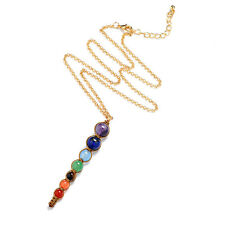 7 Chakra Natural Reiki Healing GEMSTONE Beads Point Pendant Necklace for Yoga #1