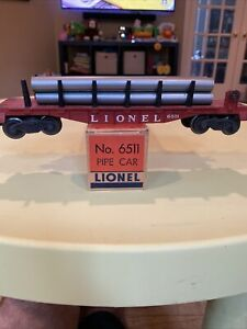 LIONEL POST WAR -- #6511 PIPE CAR WITH THE ORIGINAL BOX