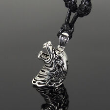 Men's Adjustable Necklace 925 Sterling Silver Wolf Head Pendant Wax Rope 170M