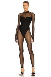 LaQuan Smith Mesh Catsuit Black Sexy Play Jumpsuit Luxury M NWT $595
