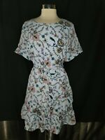 NEW BANANA REPUBLIC Sz 18 Fit & Flare Dress Blue Pink Floral Ruffle Short Sleeve