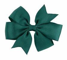 Girls Kids School Colour Bottle Green 8cm Hair Bow on Alligator Clip Grips Bows