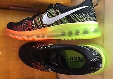 Nike Flyknit Max Premium Para hombre Zapatillas Air Zapatos Negro/Naranja UK7.5 EU42