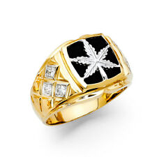 14k Yellow White Real Gold CZ Onyx Marijuana Leaves Leaf Weed Fashion Ring Band