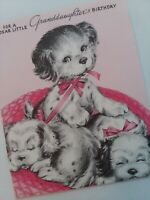UNUSED Vtg Little GRANDDAUGHTER Pink Basket of PUPPY Dogs BIRTHDAY GREETING CARD