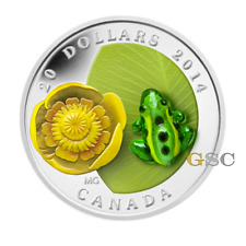Canada 2014 20$ Waterlily and leopard frog Murano glass 1oz fine silver coin