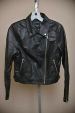Barney's Original Black Sheepskin LEATHER Motorcycle Moto Jacket Women's size 10