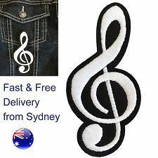 Musical treble clef iron on patch - Fast & free delivery music symbol embroidery