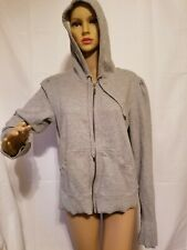 Norma Kamali Hoodie Sweatshirt Hooded Full Zip Long Sleeve Size Large Gray