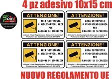 N°4 ADESIVO Cartello area videosorvegliata sottoposta a videosorveglianza 15X10