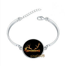 Browning Buck Bracelet Photo Glass Cabochon Tibet silver Bracelets