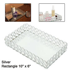 Rectangle Crystal Cosmetic Makeup Tray, Mirrored Vanity Jewelry Decorative Tray