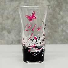 Hand Painted Tall Shot Glass 21st Birthday Gift | Pink for Girl | Personalised
