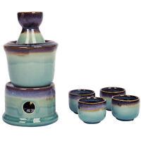 Japanese Style Ceramic Sake Serving Gift Set with Warmer, 7 Pcs, Purple